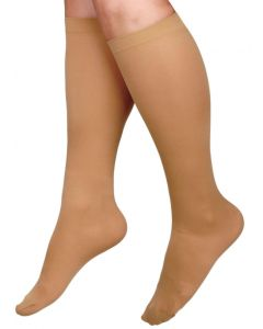CURAD Knee-High Compression Hosiery with 15-20 mmHg, Tan, Size D, Regular Length, One Pair