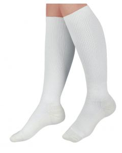 Knee-High Cushioned Compression Hosiery with 15-20 mmHg, White, Size B, Short Length, 1 Pair
