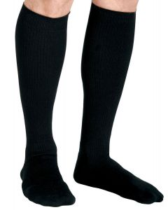 Knee-High Compression Dress Socks with 15-20 mmHg, Black Color, Size D, Short Length, 1 Pair