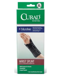CURAD Foam Wrist Splint Stay Microban Left S/M 4Ct