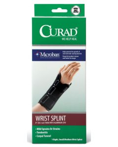 CURAD Foam Wrist Splint Stay Microban Right S/M 4Ct