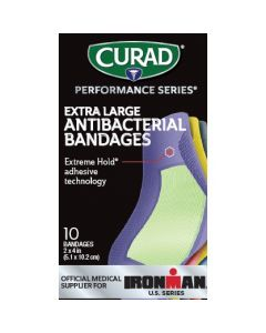 CURAD Performance Series Antibacterial Bandages, 2x4 Inch, 6 Colors, Box of 10