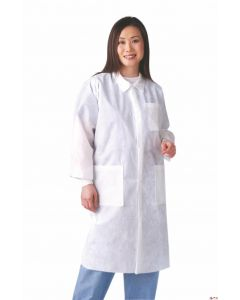 Disposable Knit-Cuff Multilayer Lab Coat with Traditional Collar, Size L