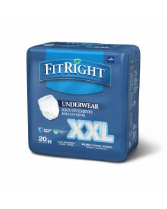 Medline FitRight Bariatric Disposable Underwear 2XL 80Ct