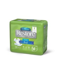 FitRight Restore Super Disposable Brief w Remedy M 20Ct FITRESTOREMDZ by Medline