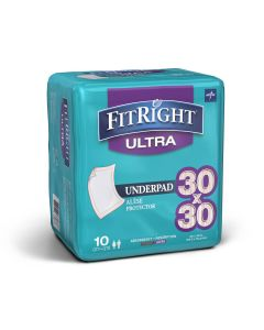 Medline FitRight Underpad Heavy Absorbency 30x30 10Ct MUP1000FZ by Medline