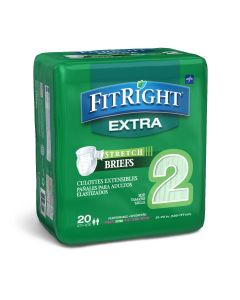 Medline FitRight Extra Stretch Disposable Briefs, Size 2, L/ XL, Waist Size 51-70 Inch, Bag of 20
