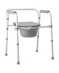 3-in-1 Folding Steel Commode, 350 lb. Weight Capacity