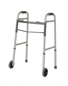 Guardian 2-Button Folding Walker w 5in Wheels 300lb 1Ct
