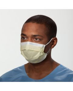 Disposable Pleated Procedure Mask, Earloops, Blue or Yellow, 50 Face Masks per Box