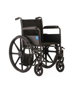 K1 Basic Wheelchair with Full Length Permanent Arms and Swing Away Leg Rests 18in
