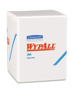 Wypall X60 Washcloths (Dry Wipes), 12.5 x 10 inch, White, 70/Pack, 8 Packs/Case (Total 560 Wipes)