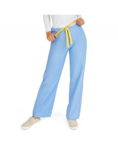 AngelStat Unisex Reversible Drawstring Waist Scrub Pants with Medline Color-Coding, Size S Regular Inseam, Ceil Blue