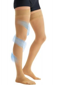 CURAD Thigh-High Compression Hosiery with 20-30 mmHg, Tan, Size B, Regular Length, One Pair