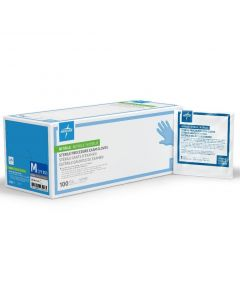 Extended Cuff Exam Gloves, Nitrile, Powder-Free, Single Glove, Sterile, Size M, Box of 100