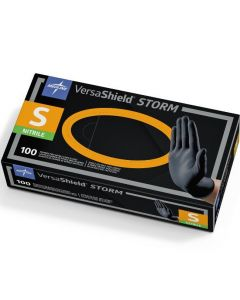 VersaShield Storm Exam Gloves, Nitrile, Powder-Free, Black