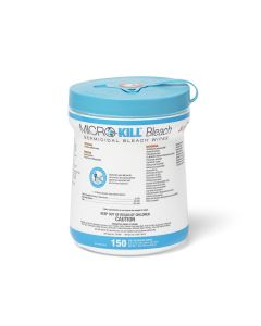 Micro-Kill Bleach Germicidal Bleach Wet Wipes, 6in x 5in, 150/Can, Case of 6 Cans (Total of 900 Wipes)