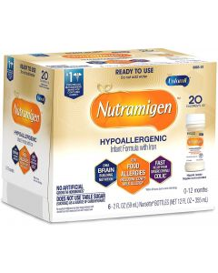 Enfamil Nutramigen Hypoallergenic Ready to Feed Colic Baby Formula Lactose Free Milk, With Omega 3 DHA, Probiotics, Iron, Immune Support, 2oz Bottles