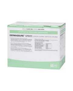 Dermassure Green Surgical Gloves, Size 7, Box of 50