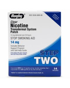 Rugby Nicotine Stop Smoking Patch Step Two 14mg 14Ct OTC589588 by Medline