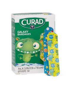 CURAD Galaxy Monsters Plastic Adhesive Bandages, Pediatric Print, 3/4 x 3in, Box of 50