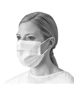 ASTM Level 1 Procedure Face Mask with Ear Loops, White, Box of 50