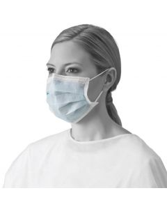 ASTM Level 1 Procedure Face Mask with Ear Loops, 3-Ply, Blue, Nonreturnable, Box of 50