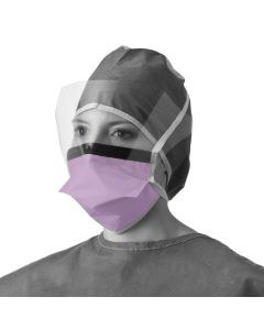 Chamber-Style Surgical Face Protection Mask with Eye Shield and Ties