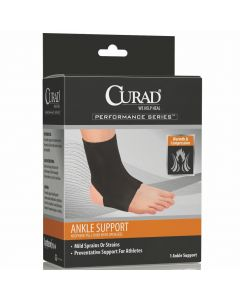 CURAD Performance Series Neoprene Open Heel Ankle Support, Size S, One
