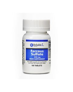 Ferrous Sulfate Iron Tablet 325mg 100Ct OTC002601 by Reliable 1