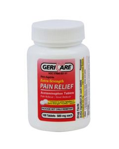 GeriCare Acetaminophen Extra Strength Tablet 500mg 100Ct OTC020101 by