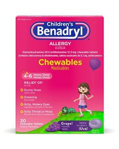 Children's Benadryl Dye-Free Allergy Chewables, Grape Flavor, 20/Box