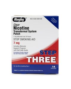 Rugby Nicotine Stop Smoking Patch Step Three 7mg 14Ct OTC589488 by Medline