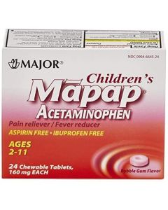 Children's Acetaminophen, Ages 2-11, 160 mg Chewable Tablets, Bubblegum Flavor, 24/Box