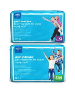 Medline Disposable Protective Youth Underwear, Sizes S/M or L/XL