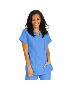 ComfortEase Women's 2-Pocket Short-Sleeve Crossover Tunic Scrub Top - Shop All