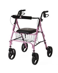 Medline Basic Rollator with 8-Inch Wheels Pink 1Ct