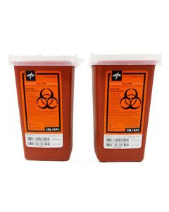 Medline Sharps Biohazard Needle Container 1Qt 2Ct
