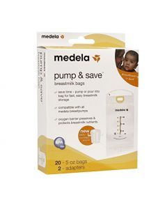 Medela Pump and Save Breast Milk Bags, 5oz., 20 Bags Plus 2 Easy-Connect Adapters