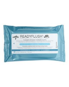Medline ReadyFlush JR. Biodegradable Flushable Wet Wipes, 7in x 8in, Fragrance-Free, One Pack (40 Wipes)