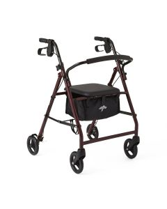 Medline Basic Steel Rollator W/ 6in Wheels Burgundy 1Ct