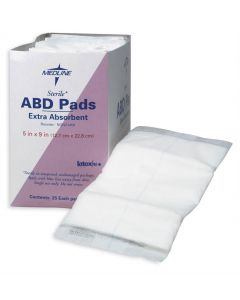 "Medline St Extra Absorbent Abdominal Pad 5""x9"" 25 Ct"