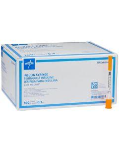 Insulin Syringe with Fixed Needle, 0.3mL Syringe, 31G x 5/16in Needle, 100/Box, One Box