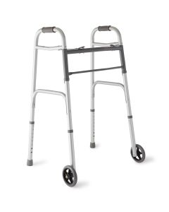 Medline 2-Button Fold Walker w 5in Wheels 300lb 4Ct