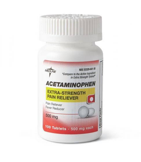 Medline Acetaminophen Ex Strength Tablet 500mg 1000Ct OTC20101 by